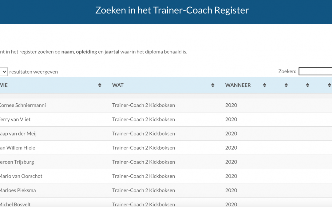 Zoeken in het Trainer-Coach Register